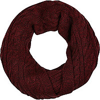 Dark red cable knit snood