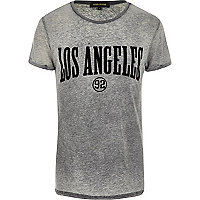 Grey burnout Los Angeles print t-shirt