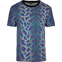 Blue graphic leopard print t-shirt