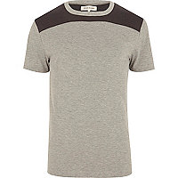 Grey marl curved yoke t-shirt