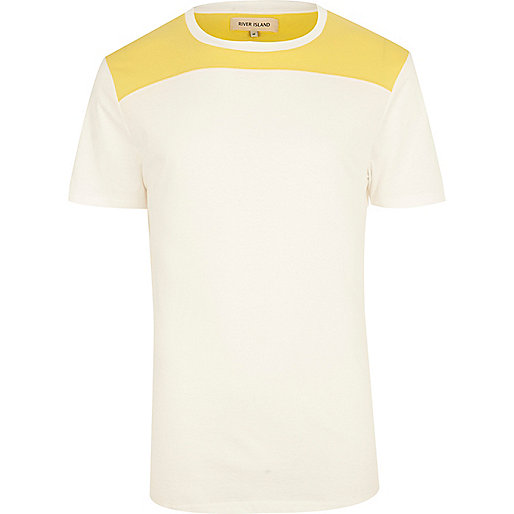 White curved yoke t-shirt