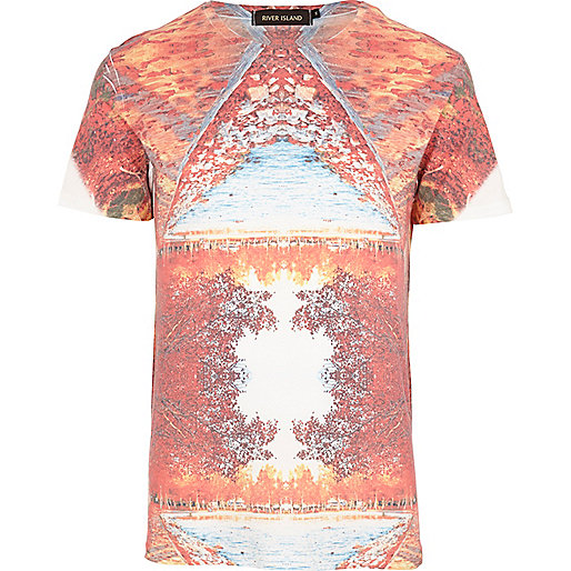 Orange abstract landscape print t-shirt