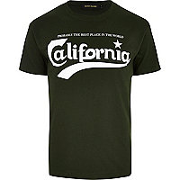 Dark green California print t-shirt