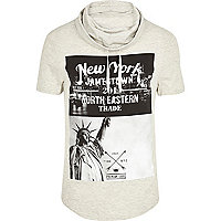 Ecru New York print cowl neck t-shirt