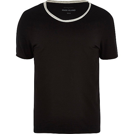 Black contrast scoop neck t-shirt