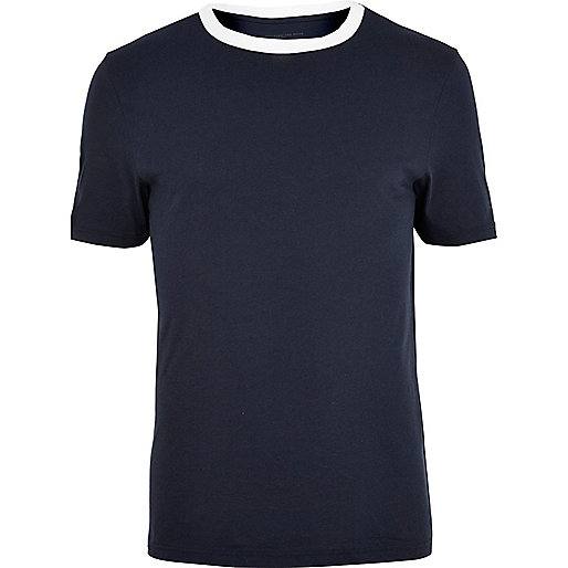 Navy contrast crew neck t-shirt