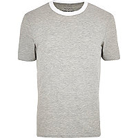 Grey marl contrast crew neck t-shirt