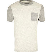 Ecru colour block crew neck t-shirt