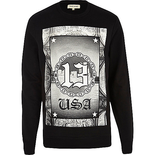 Black USA 13 chain print sweatshirt