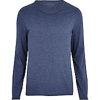 Blue marl low scoop long sleeve t-shirt