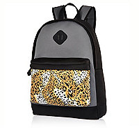 Black neoprene leopard pocket backpack