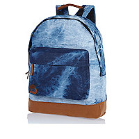 Dark wash MiPac bleached denim backpack