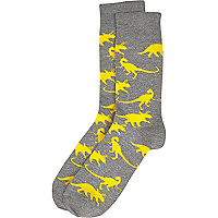 Yellow dinosaur print socks