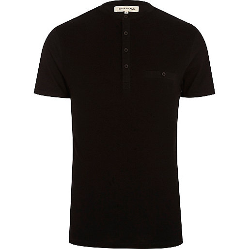 Black grandad collar t-shirt