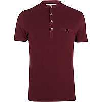 Dark red grandad collar t-shirt
