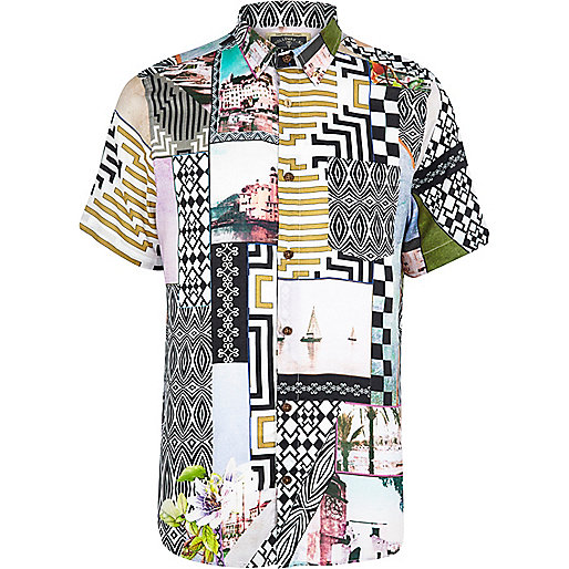 White Holloway Road postcard print shirt