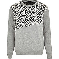 Grey zig zag jacquard spliced sweatshirt