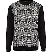 Black chevron jacquard sweatshirt