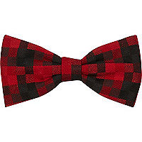 Dark red tartan bow tie