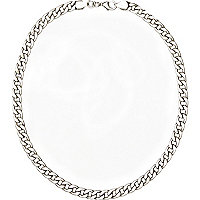 Silver tone curb chain necklace