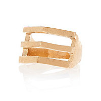 Gold tone triple bar ring