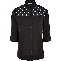 Black star print yoke Oxford shirt