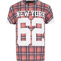 Red tartan 62 New York print t-shirt