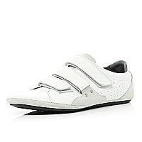 White velcro slim trainers