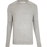 Light grey fine knit jumper