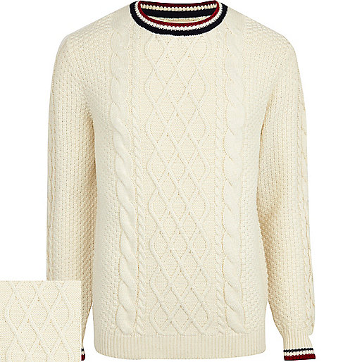 Ecru cable knit cricket jumper