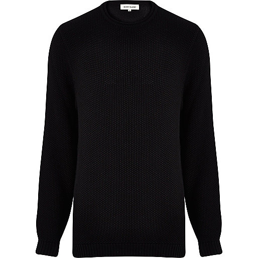 Black textured cotton jumper