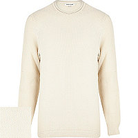 Ecru textured cotton jumper