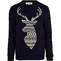 Navy fair isle stag jumper