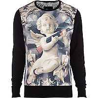 Ecru Anticulture cherub print sweatshirt