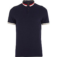 Navy colour block collar polo shirt