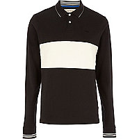 Black colour block rugby polo shirt