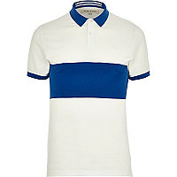 White colour block stripe polo shirt
