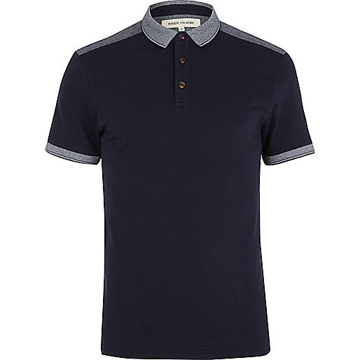 Navy shoulder patch polo shirt