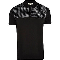 Black polka dot yoke polo shirt