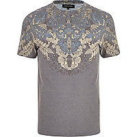Grey placement paisley print t-shirt