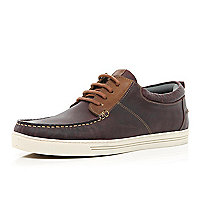 Dark brown moccasin boat shoes