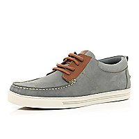 Light grey moccasin boat shoes
