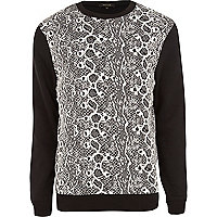 Black animal print contrast sleeve sweatshirt