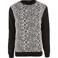Black animal print contrast sleeve sweatshirt
