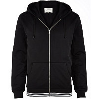 Black mesh zip through hoodie