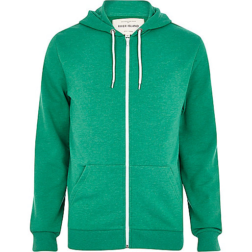 Bright green zip through hoodie
