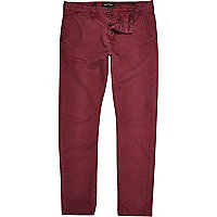 Dark red slim chinos