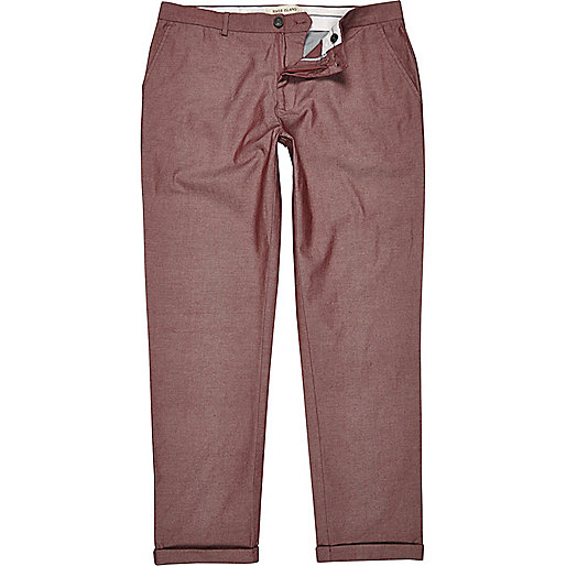 Light red chambray skinny stretch trousers