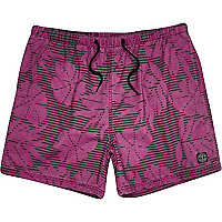 Purple floral stripe print short swim shorts