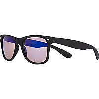 Black rubberised retro sunglasses